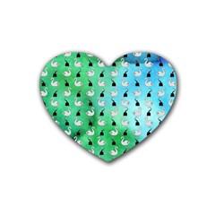 Goose Swan Hook Blue Green Heart Coaster (4 Pack)