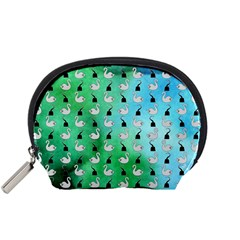 Goose Swan Hook Blue Green Accessory Pouches (small)