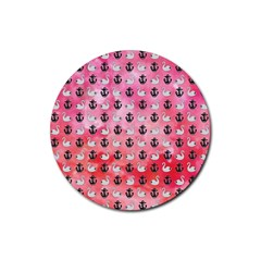 Goose Swan Anchor Pink Rubber Round Coaster (4 Pack)