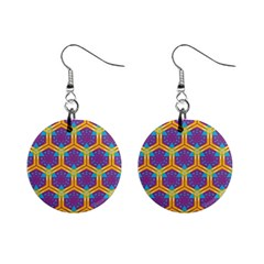 Yellow honeycombs pattern                                                          1  Button Earrings