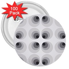 Hole Black Eye Grey Circle 3  Buttons (100 Pack)