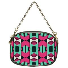 Green pink shapes                                 	Chain Purse (Two Sides)