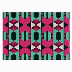 Green pink shapes                                 			Large Glasses Cloth