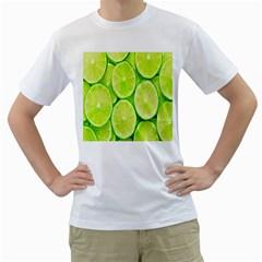 Green Lemon Slices Fruite Men s T Shirt (white) (two Sided)