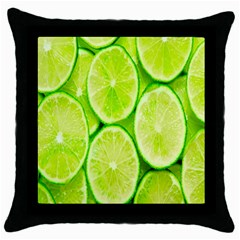 Green Lemon Slices Fruite Throw Pillow Case (black)