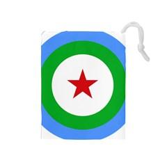 Roundel of Djibouti Air Force  Drawstring Pouches (Medium)