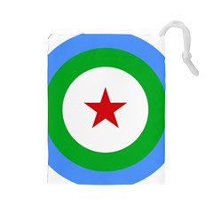 Roundel Of Djibouti Air Force Drawstring Pouches (large)