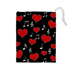 Love song Drawstring Pouches (Large)