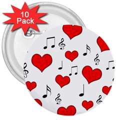 Love song pattern 3  Buttons (10 pack)