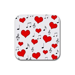 Love song pattern Rubber Square Coaster (4 pack)