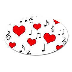 Love song pattern Oval Magnet