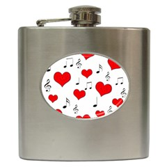 Love song pattern Hip Flask (6 oz)