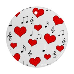 Love song pattern Round Ornament (Two Sides)