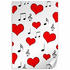 Love song pattern Canvas 12  x 18