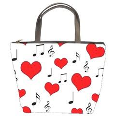 Love song pattern Bucket Bags