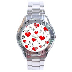 Love song pattern Stainless Steel Analogue Watch