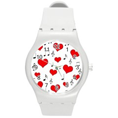 Love song pattern Round Plastic Sport Watch (M)