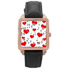 Love song pattern Rose Gold Leather Watch