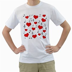 Love song pattern Men s T-Shirt (White)