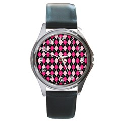 Argyle Pattern Pink Black Round Metal Watch