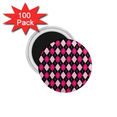 Argyle Pattern Pink Black 1.75  Magnets (100 pack)