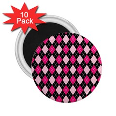 Argyle Pattern Pink Black 2.25  Magnets (10 pack)