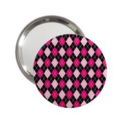 Argyle Pattern Pink Black 2 25  Handbag Mirrors