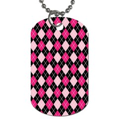 Argyle Pattern Pink Black Dog Tag (one Side)