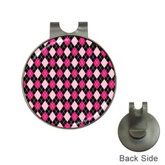 Argyle Pattern Pink Black Hat Clips with Golf Markers