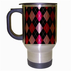 Argyle Pattern Pink Black Travel Mug (Silver Gray)