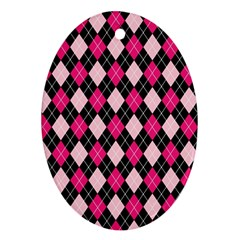 Argyle Pattern Pink Black Oval Ornament (two Sides)