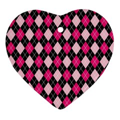 Argyle Pattern Pink Black Heart Ornament (Two Sides)