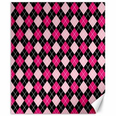 Argyle Pattern Pink Black Canvas 8  x 10