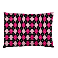 Argyle Pattern Pink Black Pillow Case