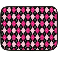 Argyle Pattern Pink Black Double Sided Fleece Blanket (Mini)