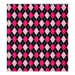 Argyle Pattern Pink Black Shower Curtain 66  x 72  (Large)