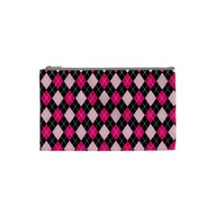Argyle Pattern Pink Black Cosmetic Bag (Small)