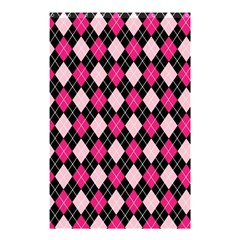 Argyle Pattern Pink Black Shower Curtain 48  x 72  (Small)