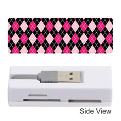 Argyle Pattern Pink Black Memory Card Reader (Stick)
