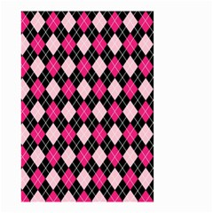 Argyle Pattern Pink Black Small Garden Flag (two Sides)