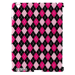 Argyle Pattern Pink Black Apple Ipad 3/4 Hardshell Case (compatible With Smart Cover)