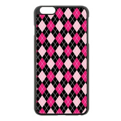 Argyle Pattern Pink Black Apple iPhone 6 Plus/6S Plus Black Enamel Case