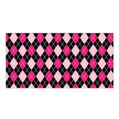 Argyle Pattern Pink Black Satin Shawl