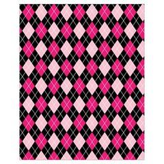 Argyle Pattern Pink Black Drawstring Bag (Small)