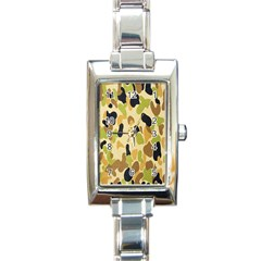 Army Camouflage Pattern Rectangle Italian Charm Watch