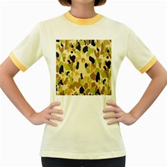Army Camouflage Pattern Women s Fitted Ringer T-Shirts