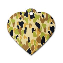 Army Camouflage Pattern Dog Tag Heart (One Side)