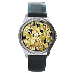 Army Camouflage Pattern Round Metal Watch