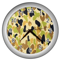 Army Camouflage Pattern Wall Clocks (Silver)