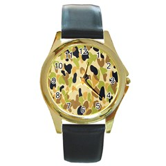 Army Camouflage Pattern Round Gold Metal Watch